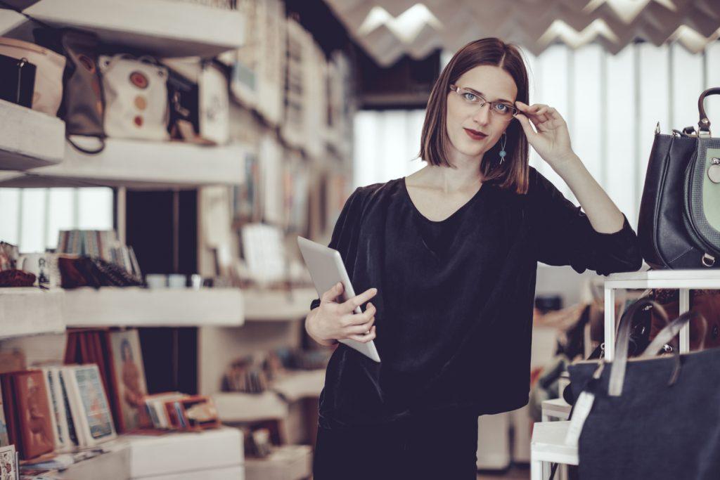 businesswoman working in her store